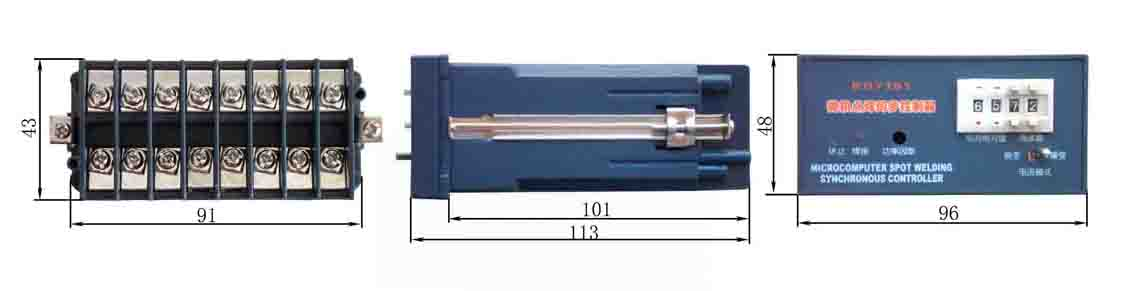 微型机箱控制器 本公司开发的电阻焊控制器有不同的外形,其中微型仪表式机箱控制器是普及型产品。该系列产品的特点是体积小、重量轻价格相较低 ,用于脚踏式电阻焊机的同步控制,主要产品型号及几何尺寸如下所示。 微型机箱